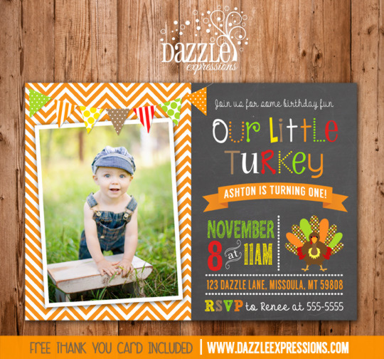 Turkey Chalkboard Birthday Invitation 2 - FREE thank you card included