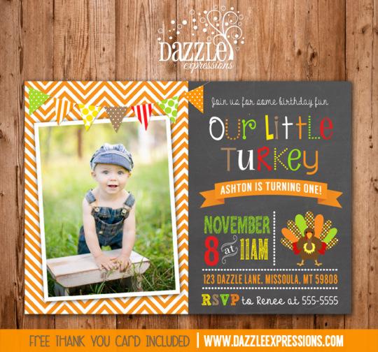Turkey Chalkboard Birthday Invitation 2 - FREE thank you card included