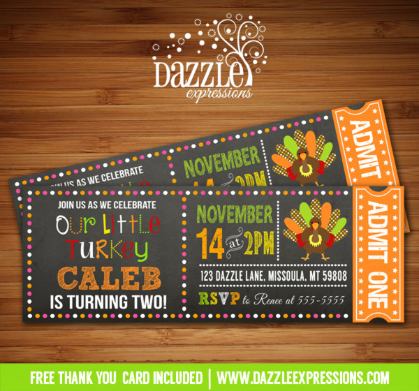 Turkey Chalkboard Ticket Birthday Invitation 1 - FREE thank you card included