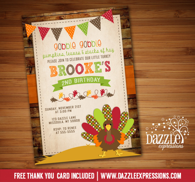 Turkey Birthday Invitation 5 - FREE thank you card included