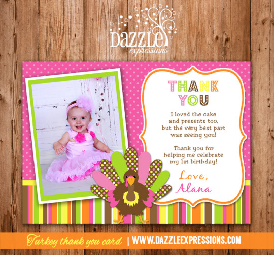 Turkey Girl Photo Thank You Card - Printable