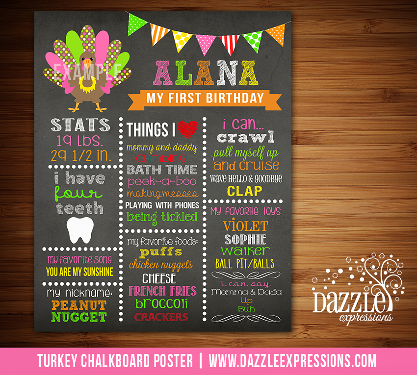 Printable Girl Turkey Chalkboard Poster