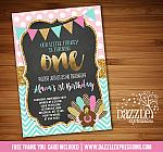 Pink Mint and Gold Turkey Chalkboard Invitation - FREE thank you card