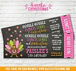 Turkey Chalkboard Ticket Birthday Invitation 3 - FREE thank you card