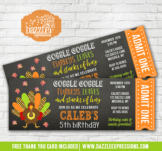 Printable Turkey Chalkboard Ticket Birthday Invitation