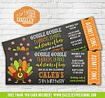 Turkey Chalkboard Ticket Birthday Invitation 4 - FREE thank you card