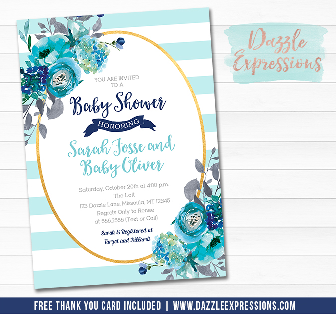 Turquoise and Gold Floral Baby Shower Invitation - FREE thank you card