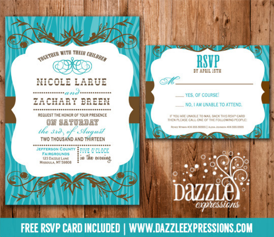 Western Turquoise and Brown Wedding Invitation RSVP Card Included