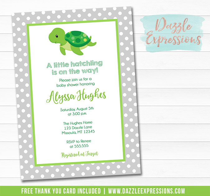 Turtle Baby Shower Invitation - FREE thank you card