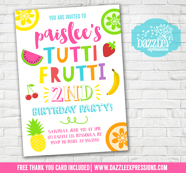 Printable tutti frutti birthday invitation tootie frootie tuity tutti frutti birthday invitation 1 free thank you card included filmwisefo