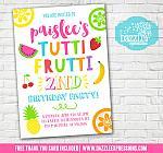 Tutti Frutti Birthday Invitation 1 - FREE thank you card included