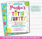 Tutti Frutti Birthday Invitation 4 - FREE thank you card included