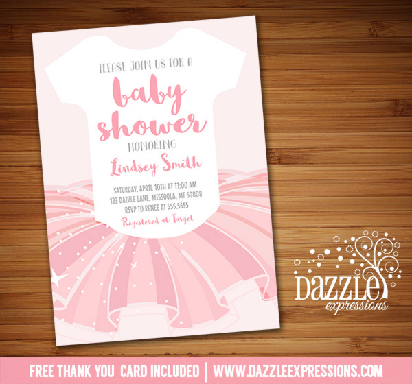 Printable diy baby shower invitations by dazzle expressions ballerina tutu baby shower invitation free thank you card included filmwisefo