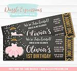 Tutu Pink and Gold Chalkboard Ticket Invitation - FREE thank you card