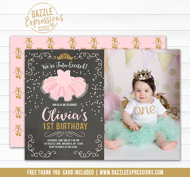 Printable tutu ballerina chalkboard birthday invitation pink and tutu pink and gold chalkboard invitation 2 free thank you card and back filmwisefo
