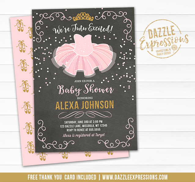 Tutu Pink and Gold Chalkboard Baby Shower Invitation - FREE thank you and back side