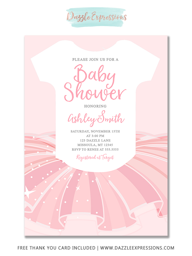 picture about Printable Onesie Baby Shower Invitations titled Printable Ballerina Tutu Onesie Child Sower Invitation - Ballet - Boy or girl Female - Totally free thank your self card provided