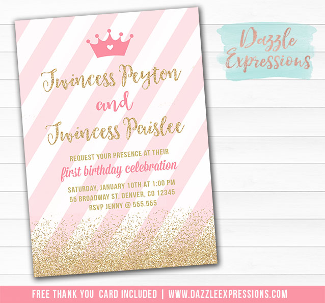 Twincess Birthday Invitation 2