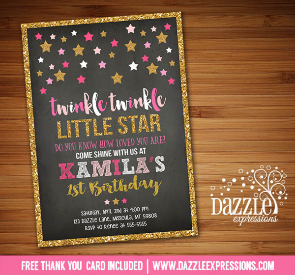 Twinkle Twinkle Little Star Chalkboard Invitation 6 - FREE thank you card included