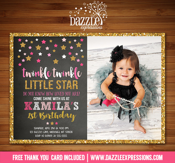 Twinkle Twinkle Little Star Chalkboard Invitation 7 - FREE thank you card included