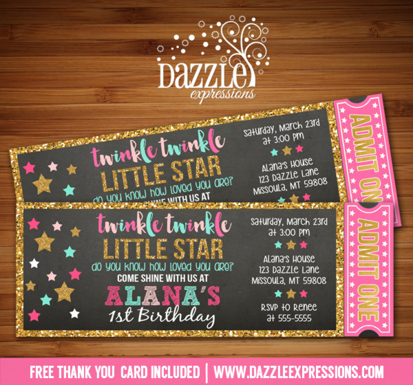 Twinkle Little Star Chalkboard Ticket Invitation 2 - FREE thank you card included