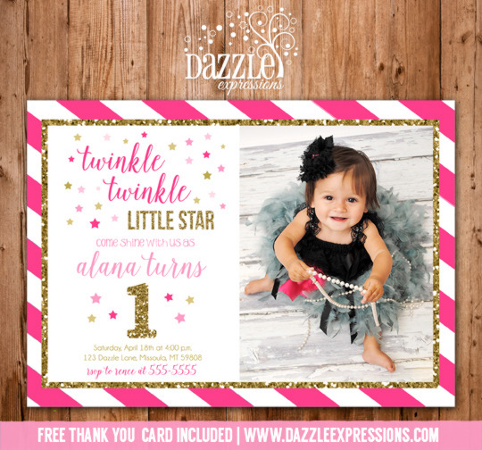 Twinkle Twinkle Little Star Birthday Invitation 3 - Pink and Gold Glitter - FREE thank you card included