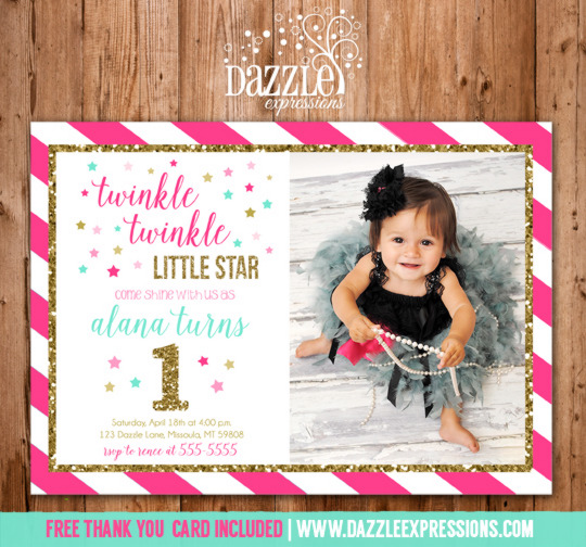 Twinkle Twinkle Little Star Birthday Invitation 4 - FREE thank you card included