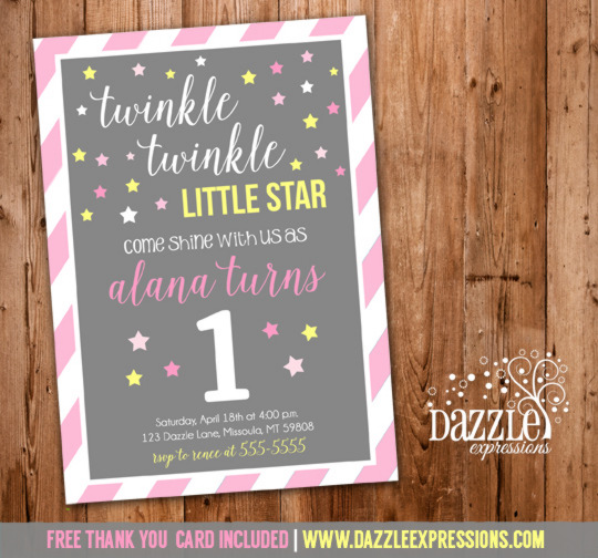 Twinkle Twinkle Little Star Birthday Invitation 6 - FREE thank you card included