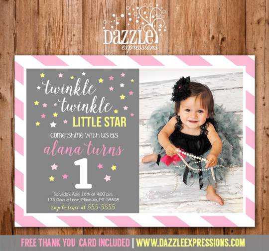 Twinkle Twinkle Little Star Birthday Invitation 7 - FREE thank you card included