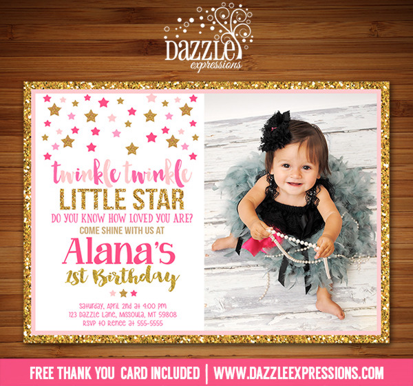 Twinkle Twinkle Little Star Birthday Invitation 8 - FREE thank you card included