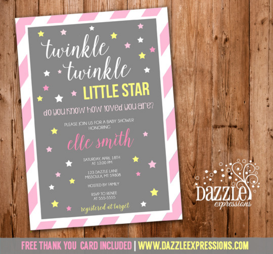 Twinkle Twinkle Little Star Girl Baby Shower Invitation - FREE thank you card included