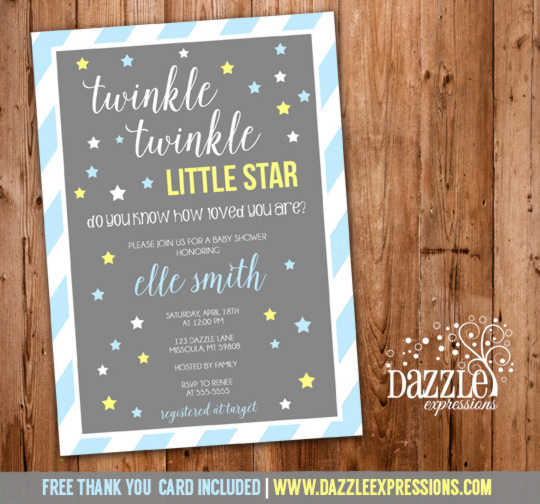 Twinkle Twinkle Little Star Boy Baby Shower Invitation - FREE thank you card included