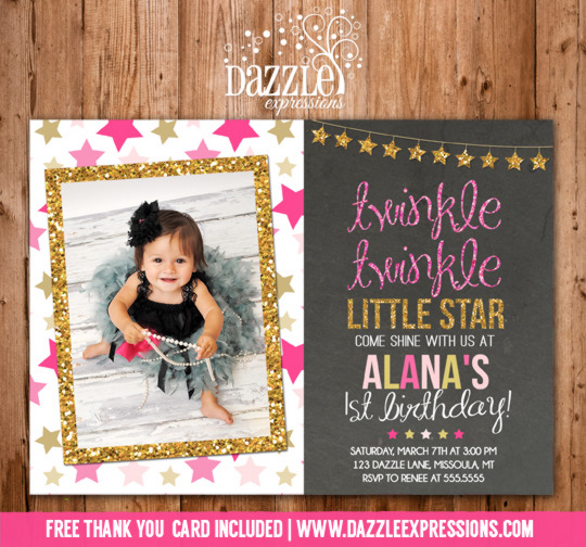 Twinkle Twinkle Little Star Chalkboard Invitation 1 - FREE thank you card included