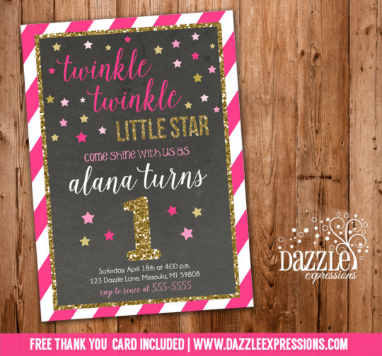 Twinkle Twinkle Little Star Chalkboard Invitation 2 - FREE thank you card included