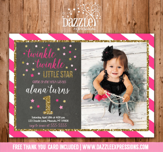 Twinkle Twinkle Little Star Chalkboard Invitation 3 - FREE thank you card included