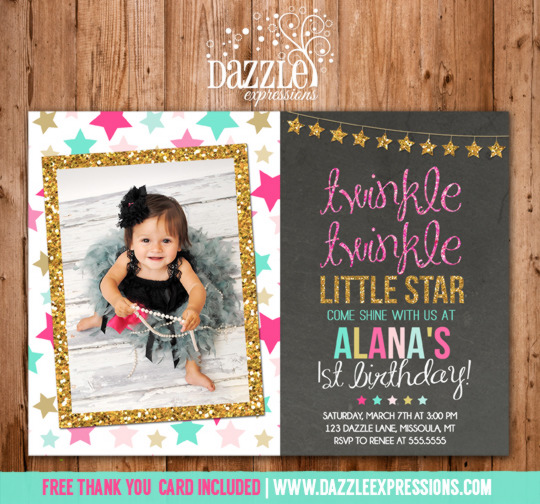 Twinkle Twinkle Little Star Chalkboard Invitation 4 - FREE thank you card included