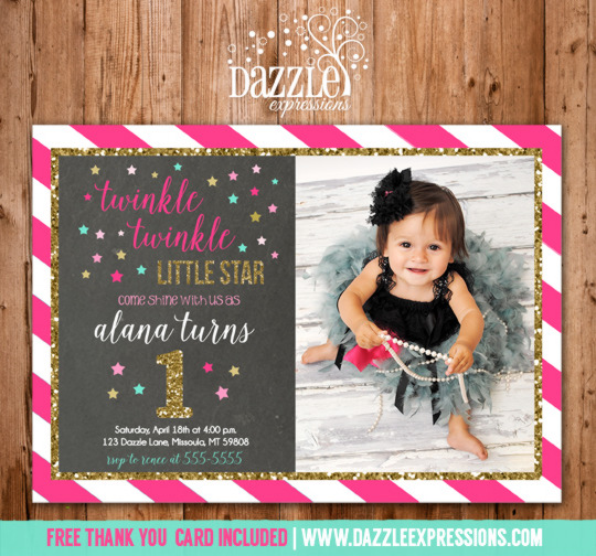 Twinkle Twinkle Little Star Chalkboard Invitation 5 - FREE thank you card included