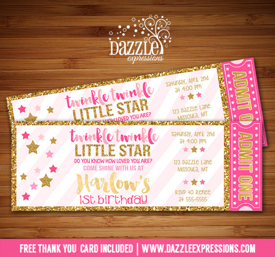 Twinkle Twinkle Little Star Ticket Invitation - FREE thank you card included