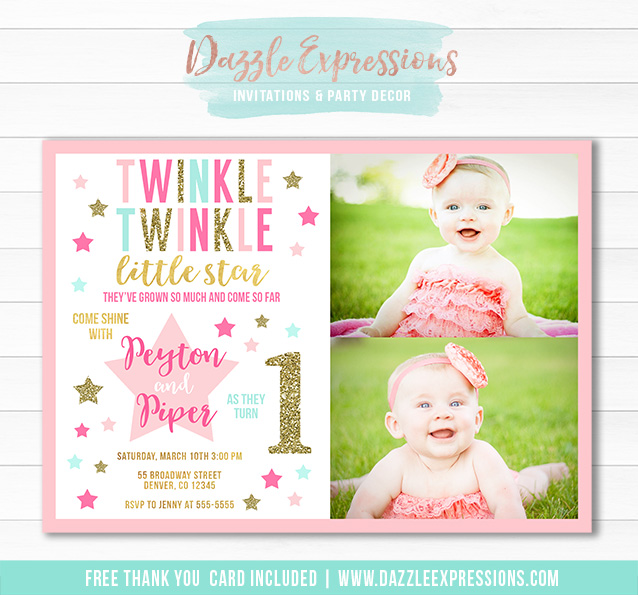 Printable Twins Twinkle Twinkle Little Star Birthday Invitation – Twin 1st Birthday Invitations