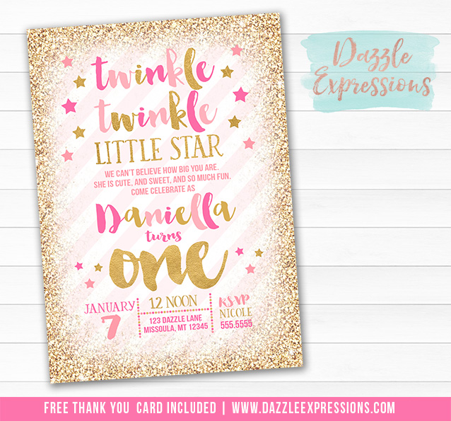 printable twinkle twinkle little star birthday invitation pink and