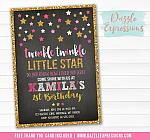 Twinkle Little Star Chalkboard Invitation 2 - FREE thank you card included