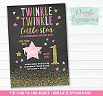 Twinkle Little Star Chalkboard Invitation 3 - FREE thank you card included