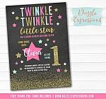 Twinkle Little Star Chalkboard Invitation 4 - FREE thank you card included