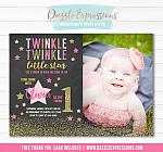 Twinkle Little Star Chalkboard Invitation 5 - FREE thank you card included