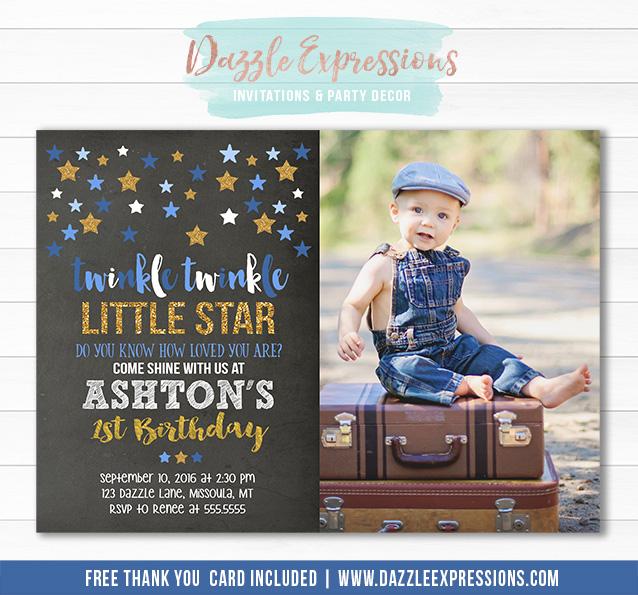 printable twinkle little star chalkboard birthday invitation blue