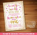 Twinkle Twinkle Little Star Birthday Invitation 9 - FREE thank you card included