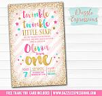 Twinkle Twinkle Little Star Chalkboard Invitation 10 - FREE thank you card included