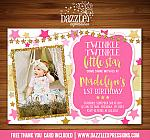 Twinkle Little Star 1 - Pink and Gold Glitter - FREE thank you card included