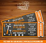 Construction Tools Chalkboard Ticket Invitation - Double Party or Twins - FREE thank you card included