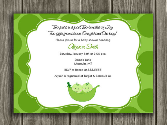 Two Peas in a Pod Baby Shower Invitation - Thank You Card Included